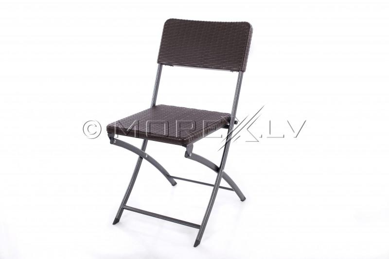 Rotangdisainiga kokkupandav kandiline laud 62x62x74 cm + 2 tool