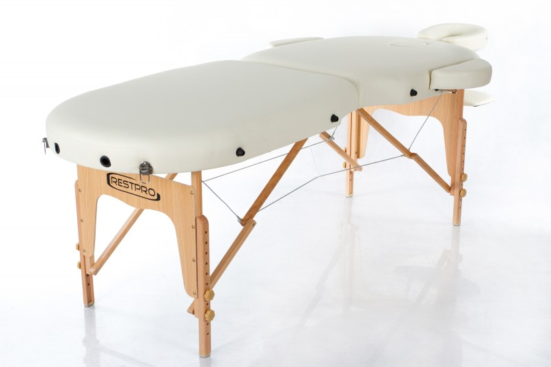 RESTPRO® VIP OVAL 2 CREAM Massage Table + Massage Bolsters