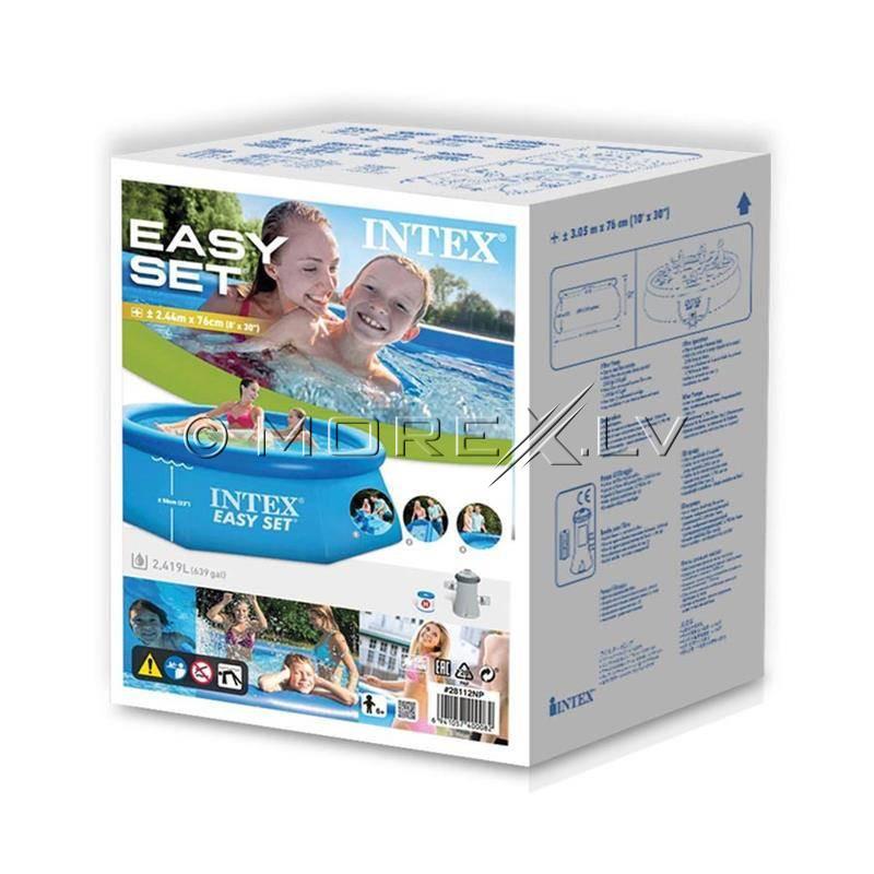 Täispuhutav bassein Intex Easy Set 244x76 cm, filterpumba (28112)