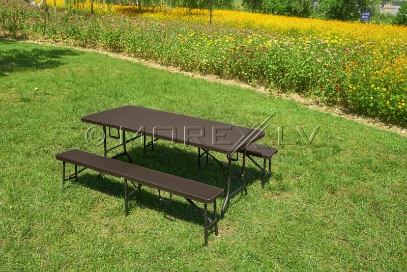 Rotangdisainiga kokkupandav laud 180x72 cm + 2 Kokkupandav laud