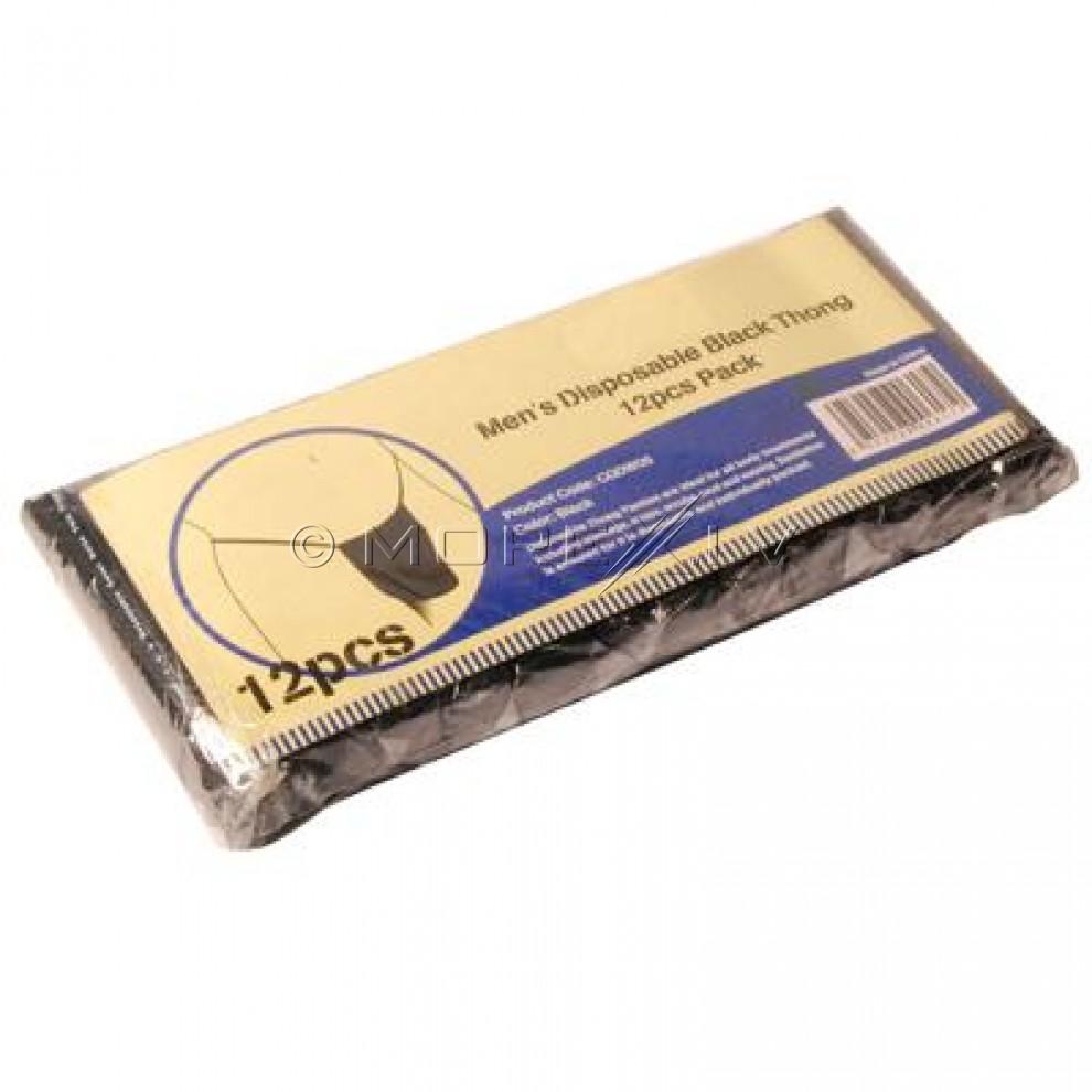 Mens Disposable Black Thong 12pcs Pack