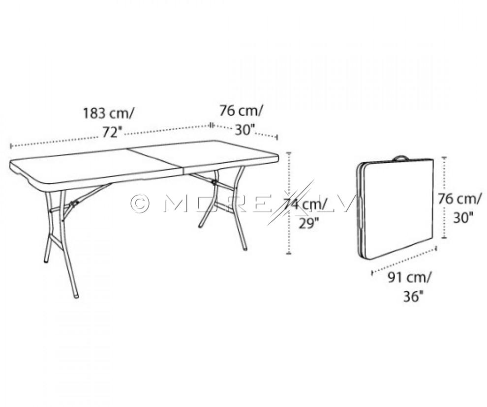 Kokkupandav laud 183x76cm + 6 Kokkupandav tool seljatoega