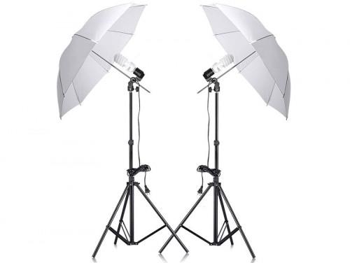 Studio Set 2x85W, 2X Umbrella, 2 Light Stands (foto_02899)