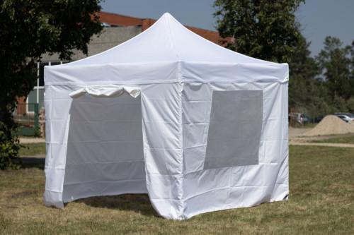 Pop Up Kokkupandav varikatus 3x3 m, seintega, valge, N-seeria, alumiinium (telk, paviljon, varikatus)