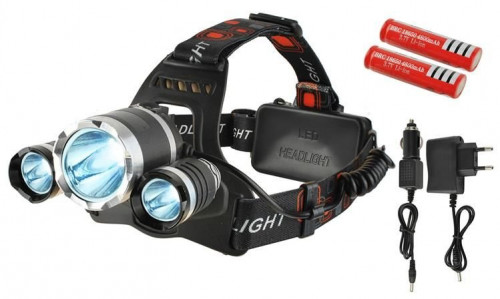 LED headlamp, 4 modes, 3 lamps