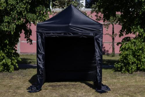 Kokkupandav tent seinte ja katusega 2x2 m, H-seeria (must, teraskarkass, 420D polüester)
