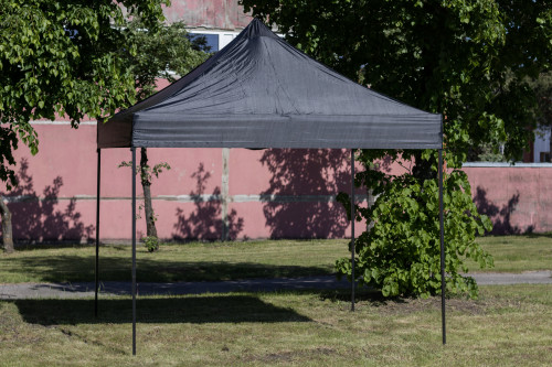 Pop Up Canopy - folding tent frame without walls 2.92x2.92 m, Black, H series, steel (portable gazebo, pit tent)