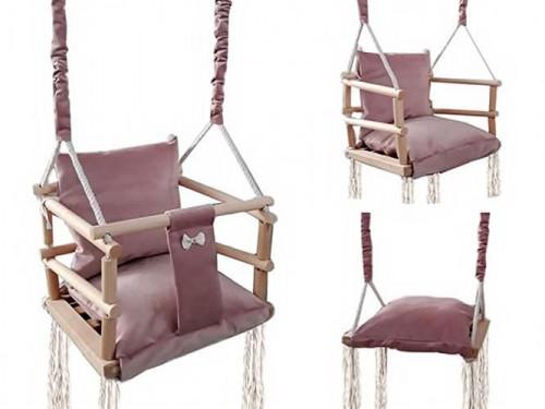 Puidust laste kiik-tool kolm-ühes, pruun