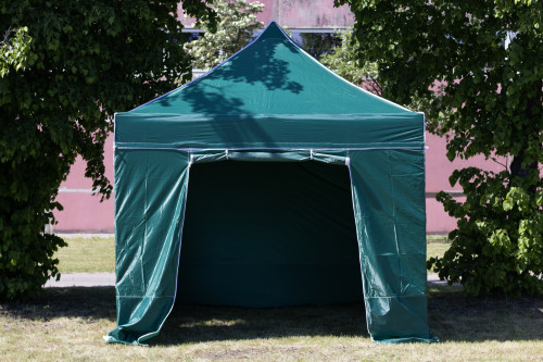 Pop Up Canopy - folding tent frame with walls 3x3 m, Green, X series, aluminum (portable gazebo, pit tent)
