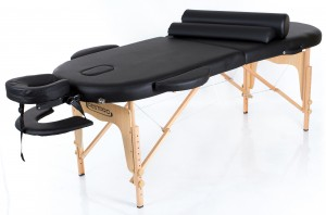 RESTPRO® Classic Oval 2 Black Massage Table + Massage Bolsters