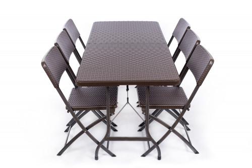 Rotangdisainiga kokkupandav laud 180x72 cm + 6 tool