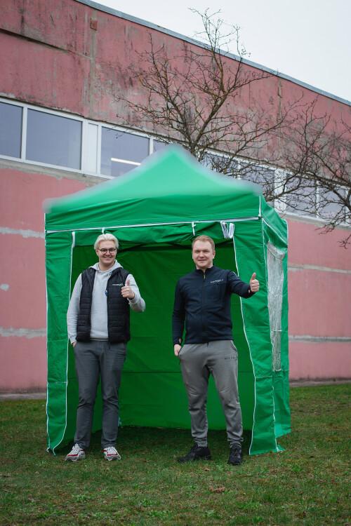 Sein varikatuse jaoks, 4tk. komplekt, roheline värv, kanga tihedus 160 g / m2, 2x2 m