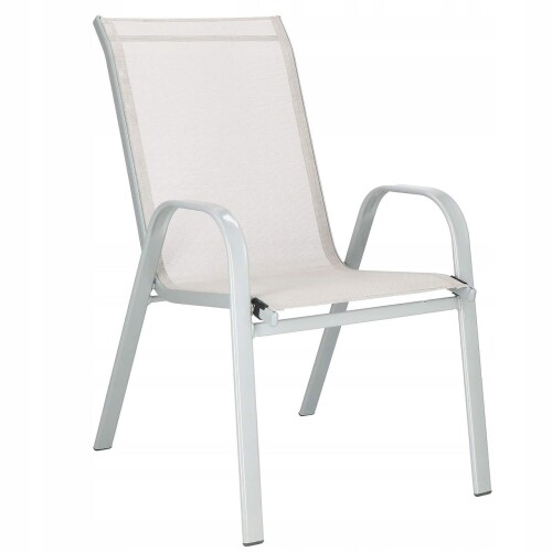 Garden chair made of steel and textile, gray