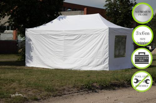 Kokkupandav N-seeria 3x6 m tent seintega - alumiiniumkarkass 50x50x1.8 mm