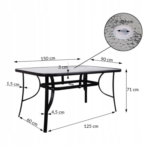 Table, metal with glass surface 150 x 90 x 71 cm Black